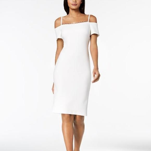 Calvin Klein Dresses Off The Shoulder Scuba Dress Poshmark